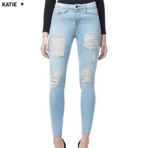 Good American Good Wait Raw Edge Distressed Jeans